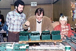 Richard Pfarr judging mice at the MRBA Jan. 4, 1981 show