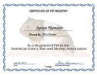 Syrian Hamster Certificate